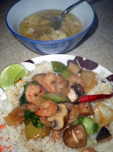 Shrimp Stir-Fry and Egg Drop Soup